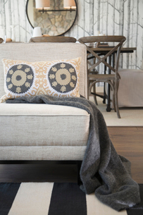 Blanket and patterned pillow on living room chairの写真素材 [FYI02276955]