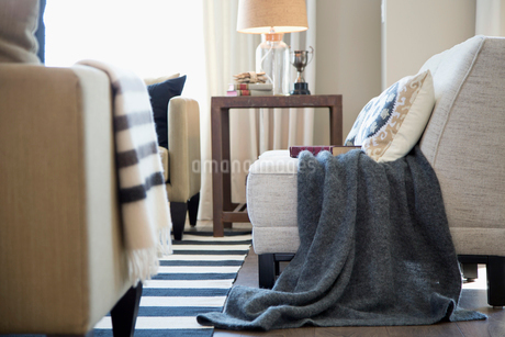 Gray blanket over chair in elegant living roomの写真素材 [FYI02277086]