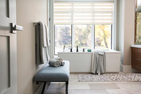 Modern bathtub in elegant bathroomの写真素材 [FYI02277167]