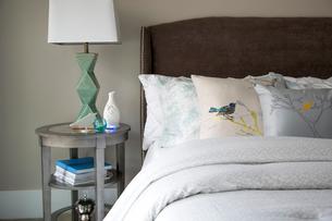 Bird pillows on elegant bedの写真素材 [FYI02277649]