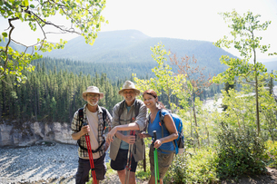 Portrait smiling hikers with poles in sunny woodsの写真素材 [FYI02278800]