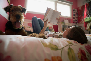 Dog laying next to girl reading book bedの写真素材 [FYI02279372]