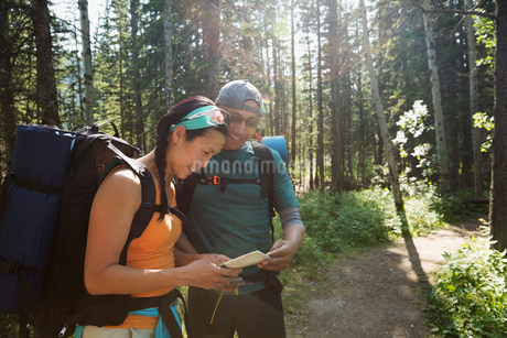 Backpackers checking map on trail in woodsの写真素材 [FYI02279809]