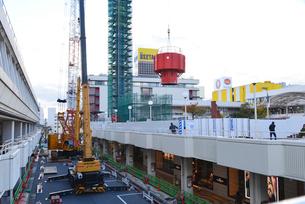新潟市万代シティの塔解体されるレインボータワーの写真素材 [FYI02280711]