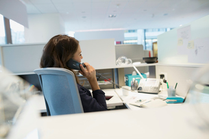 Young businesswoman talking on telephone at deskの写真素材 [FYI02281846]