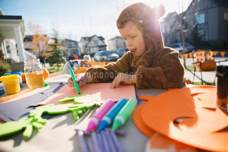 Boy in Halloween costume doing crafts front yardの写真素材 [FYI02284105]