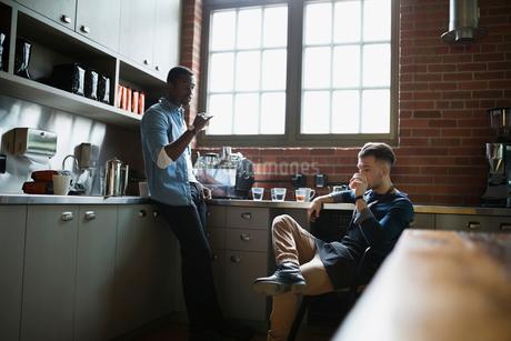 Entrepreneurial coffee roasters tasting coffee in kitchenの写真素材 [FYI02284480]