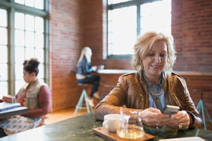 Woman texting drinking tea in coffee shopの写真素材 [FYI02284482]
