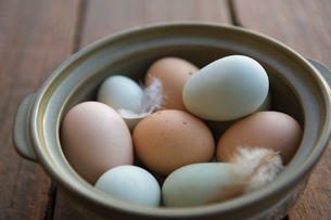 Fresh organic multicolor eggs and feathers in bowlの写真素材 [FYI02285002]