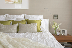 Contemporary bedroom with textured bedding and throw pillows.の写真素材 [FYI02285589]