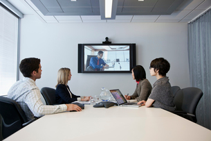 business group video conferencingの写真素材 [FYI02286002]