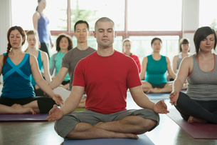 yoga class in the lotus positionの写真素材 [FYI02286364]