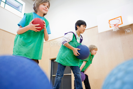 elementary students playing in gymnasiumの写真素材 [FYI02286696]
