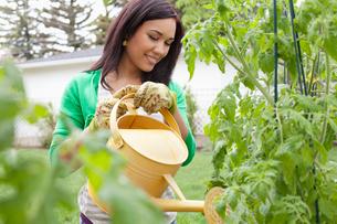 pretty, mid adult woman watering her gardenの写真素材 [FYI02286910]