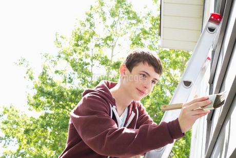 teenage boy painting exterior of homeの写真素材 [FYI02287555]