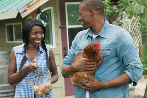 rural couple holding chicken and collected eggsの写真素材 [FYI02287642]