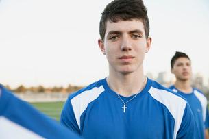 Portrait of teenage soccer player.の写真素材 [FYI02288355]