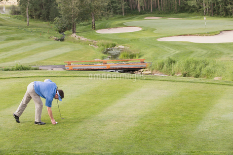 middle-aged male golfer placing ball on teeの写真素材 [FYI02288498]