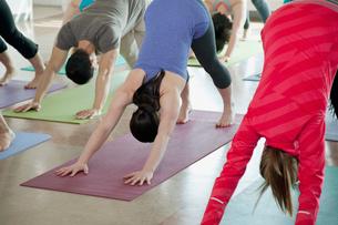 yoga class doing downward dogの写真素材 [FYI02288944]