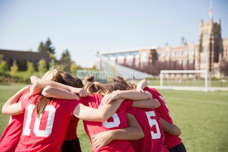 Girls soccer team huddled on field.の写真素材 [FYI02289240]