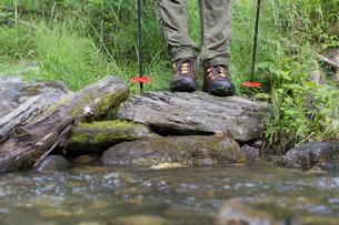 cropped image of female hikers bootsの写真素材 [FYI02289278]