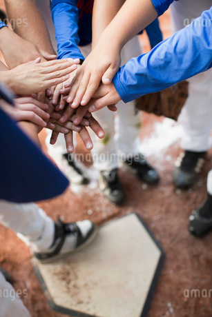 View from above of baseball players hands over hands at homeplate.の写真素材 [FYI02290057]