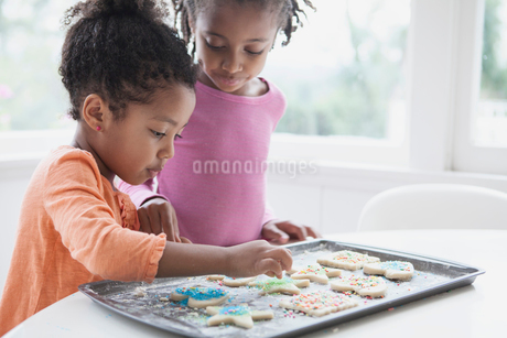 young sisters decorating cookies togetherの写真素材 [FYI02290145]