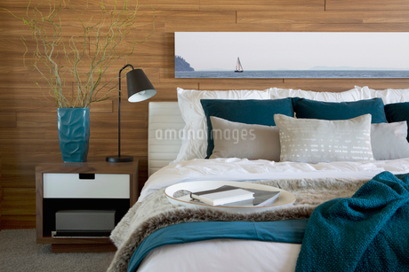 Teal and white accents in bedroomの写真素材 [FYI02290487]