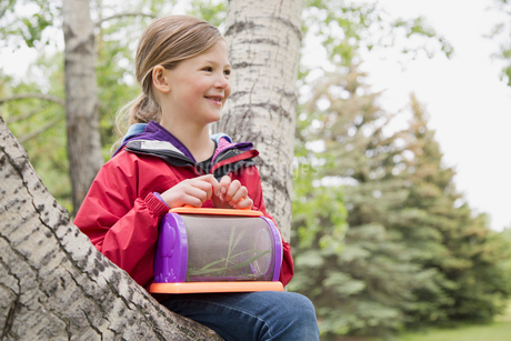 female elementary student sitting in treeの写真素材 [FYI02291586]