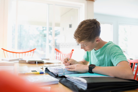 Boy doing homework at dining tableの写真素材 [FYI02292781]