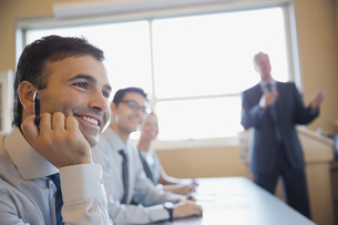 Happy businessman in training classの写真素材 [FYI02293189]