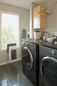 Laundry room in contemporary homeの写真素材 [FYI02293301]