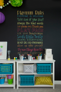 Rules written on blackboard in playroomの写真素材 [FYI02293349]