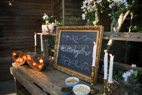Wedding decorations at wedding receptionの写真素材 [FYI02295870]