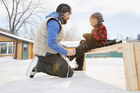 Father tying ice-skates for sonの写真素材 [FYI02297262]