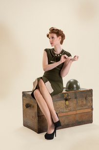 Military pin-up using nail fileの写真素材 [FYI02299805]