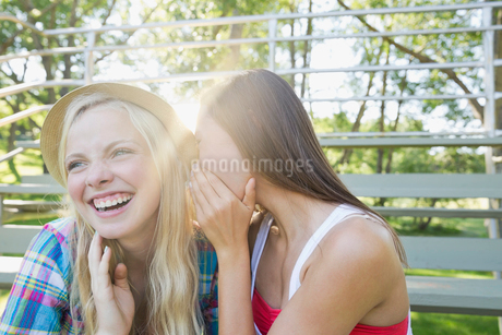 Teenage girl whispering to girl friendの写真素材 [FYI02300403]