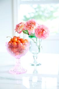 ピンクのカットグラスのサクランボとバラの花の写真素材 [FYI02301759]