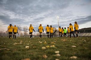 Soccer team walking on fieldの写真素材 [FYI02301851]