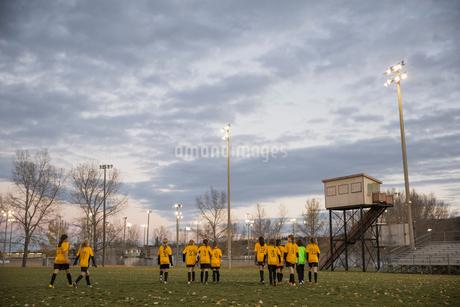 Soccer team walking on fieldの写真素材 [FYI02301877]