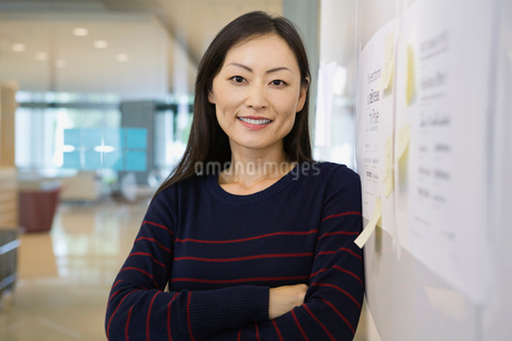 Portrait of confident businesswoman in officeの写真素材 [FYI02302501]
