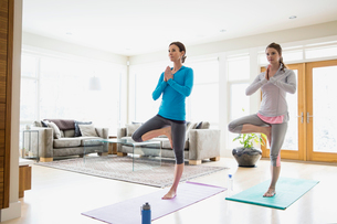 Mother and daughter doing yoga in living roomの写真素材 [FYI02303216]