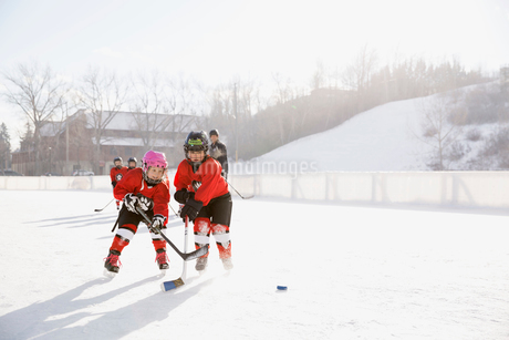 Young ice hockey players practicing on rinkの写真素材 [FYI02304416]