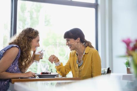 Female friends gossiping in restaurantの写真素材 [FYI02305002]