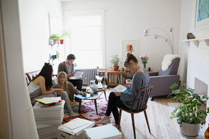 Young activists meeting and planning in living roomの写真素材 [FYI02309122]