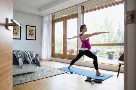 Pregnant woman practicing warrior 2 yoga pose in bedroomの写真素材 [FYI02309528]