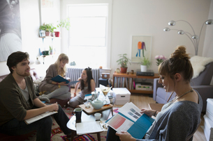 Young activists meeting and planning in living roomの写真素材 [FYI02310188]
