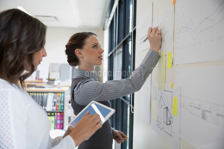 Female architects drafting blueprints on office boardの写真素材 [FYI02310281]