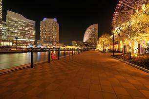 夜の石畳とみなとみらいのビルの灯りの写真素材 [FYI02311087]