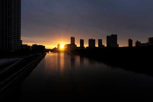 日の出の東雲運河と高層ビル群の写真素材 [FYI02311121]